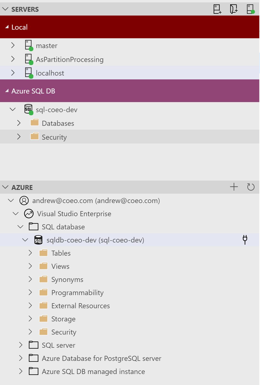 Azure Data Studio connections