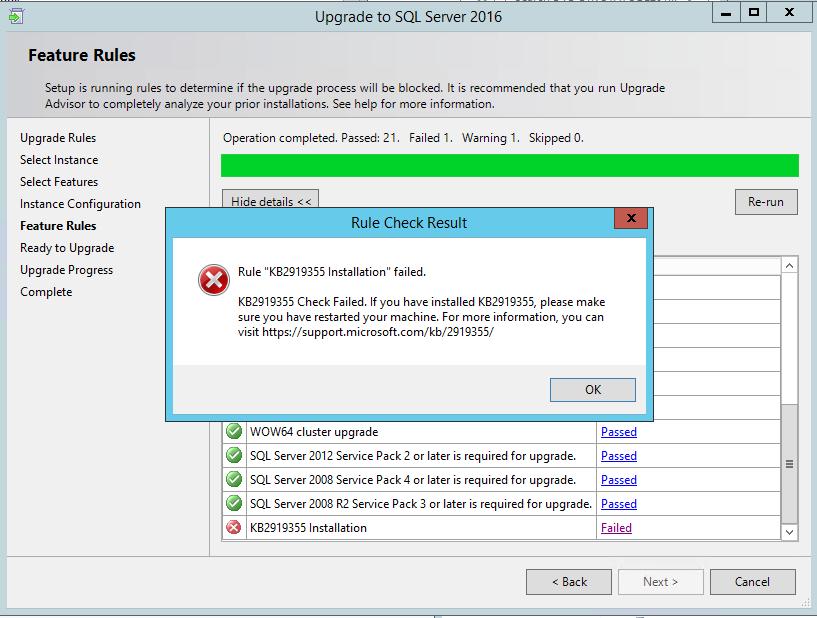 The KB2919355 installation failed