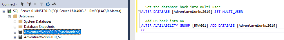 Add database into AG