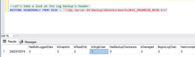 Log backup header 1